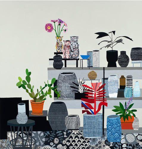 Jonas Wood, Still Life with Cat Vessels, 2012