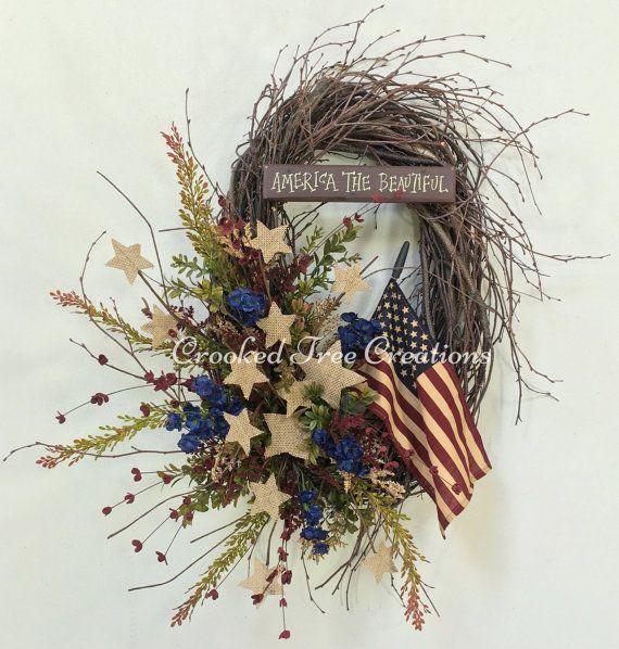 Americana Wreath Patriotic Wreath Veterans by CrookedTreeCreation