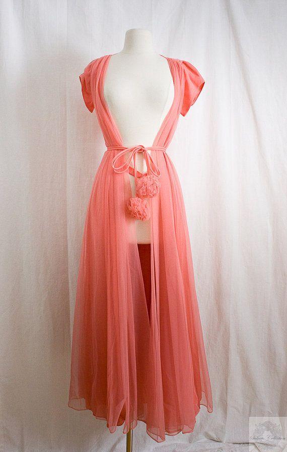 1960's Vintage Couture Lingerie / Peignoir Robe, Pom Pom