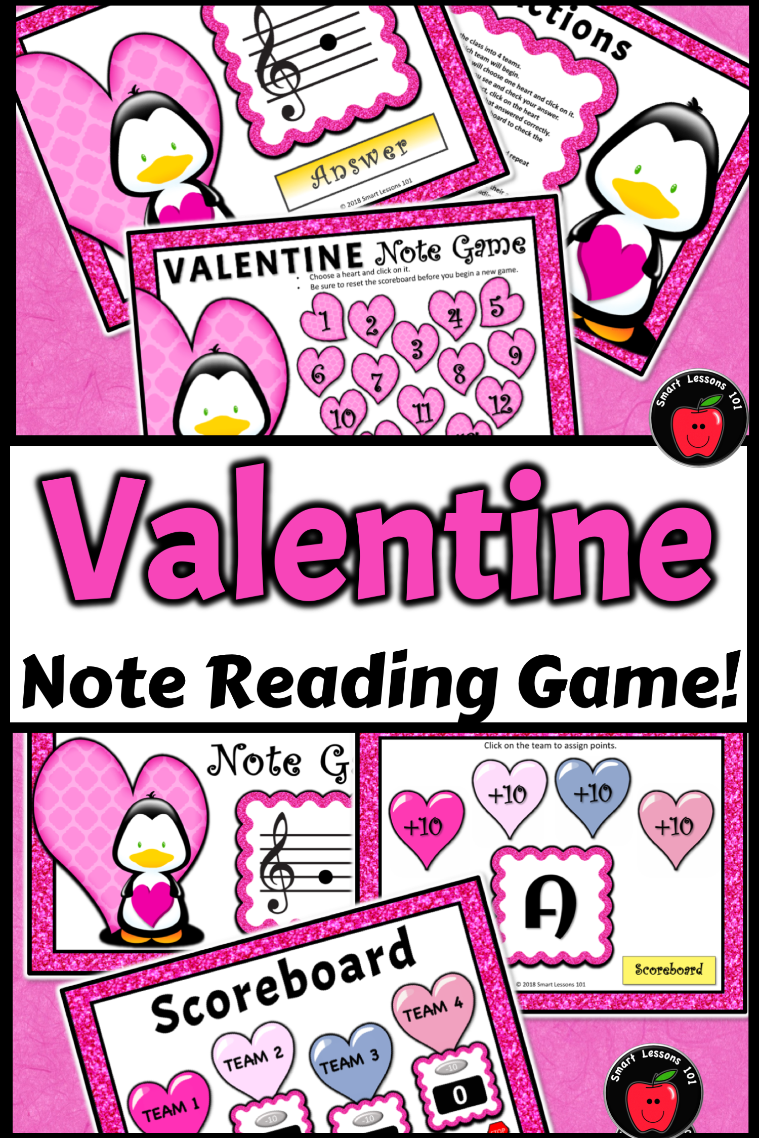Valentines Day Activities Valentine Treble Note Name Game