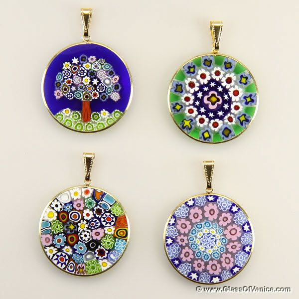 Large millefiori pendant in gold plated frame 32mm murano large millefiori pendant in gold plated frame 32mm murano pinterest murano glass pendants and glass mozeypictures Images