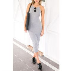 Bodycon Grey Long Dress Straps Halter Backless Casual #116260 - S