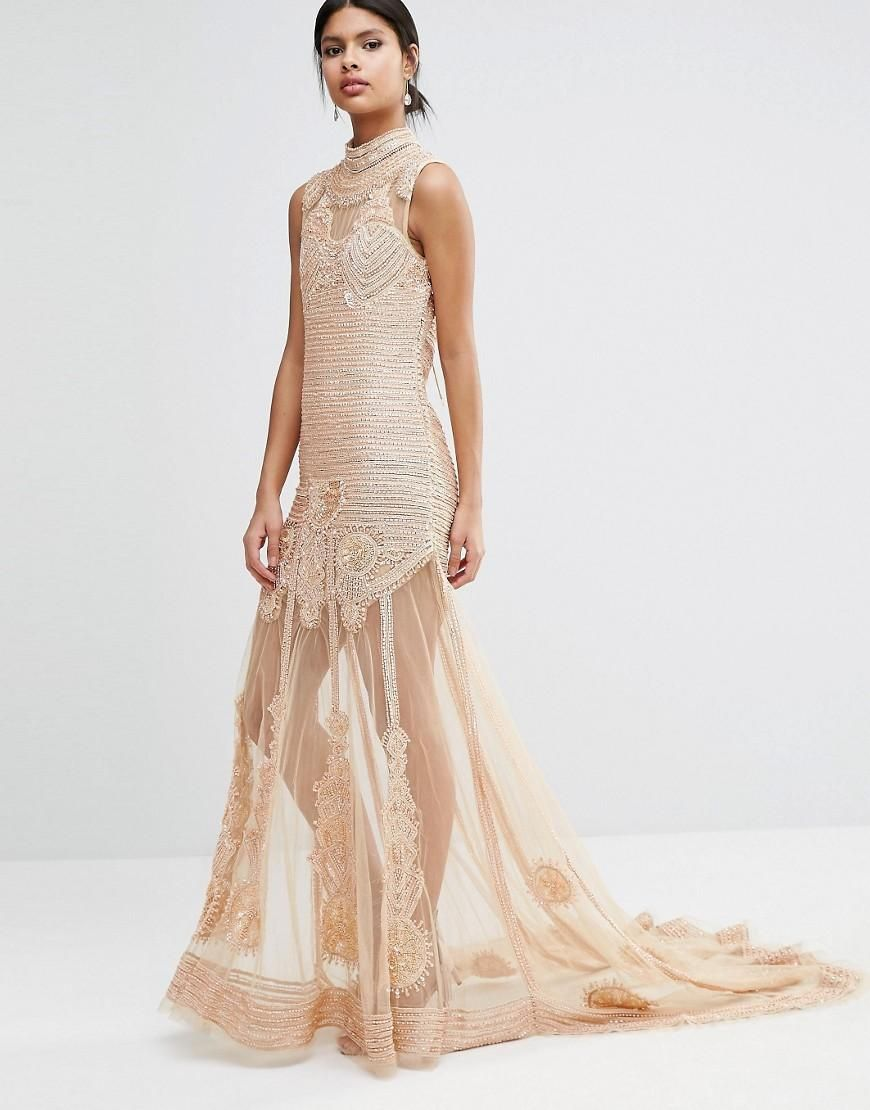 A Star Is Born  A Star Is Born Embellished Sheer Panel Maxi Dress