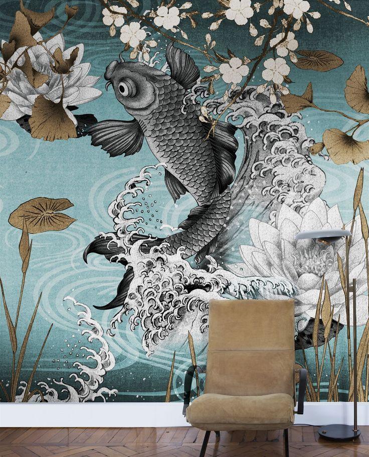 Wandmalerei Wohnzimmer Ideen: Designer Wallpaper, Koi