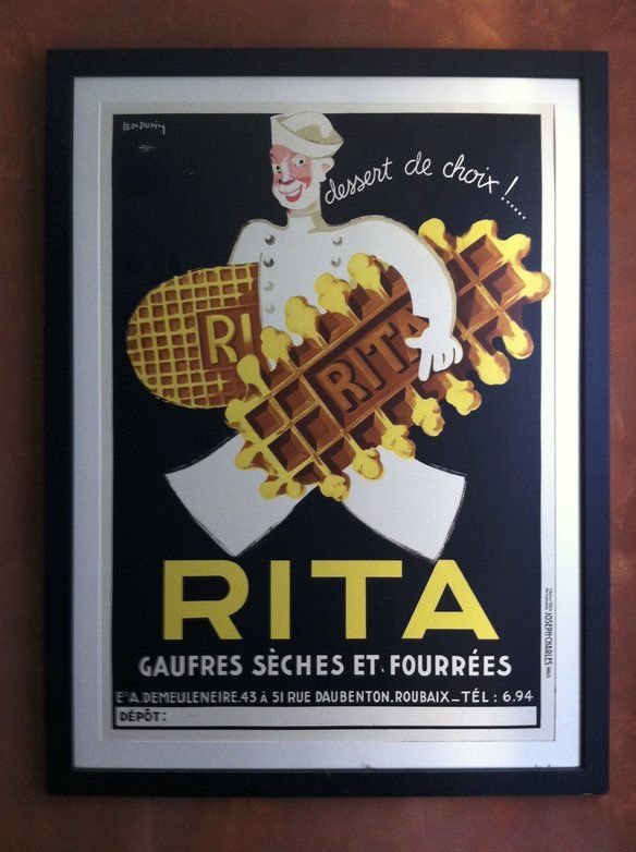 Vintage Print Paper Poster Art Painting Rita Waffles advert