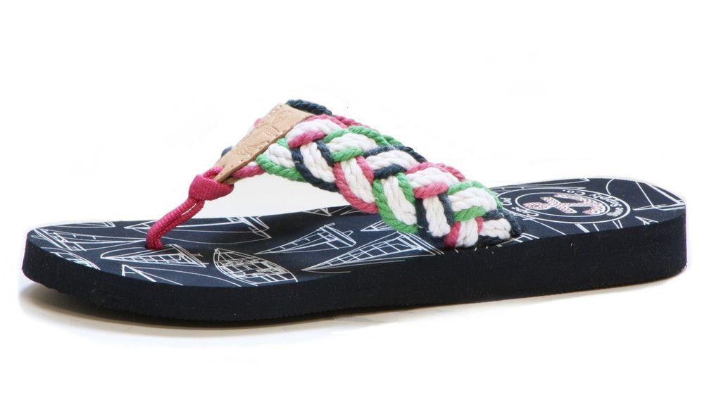 Mainsail - Women's Pink and Green - braided knot flip flops