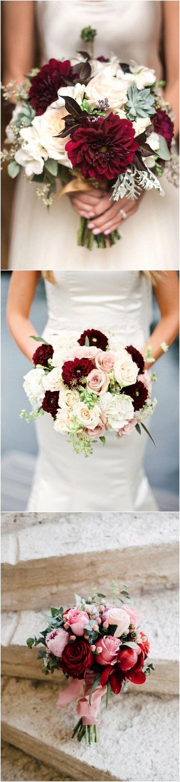 burgundy and blush wedding bouquet ideas   Wedding Flowers ...