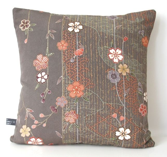 Autumnal Elegant Double Sided Floral Cushion from Vintage Japanese Kimono Silk £33.00