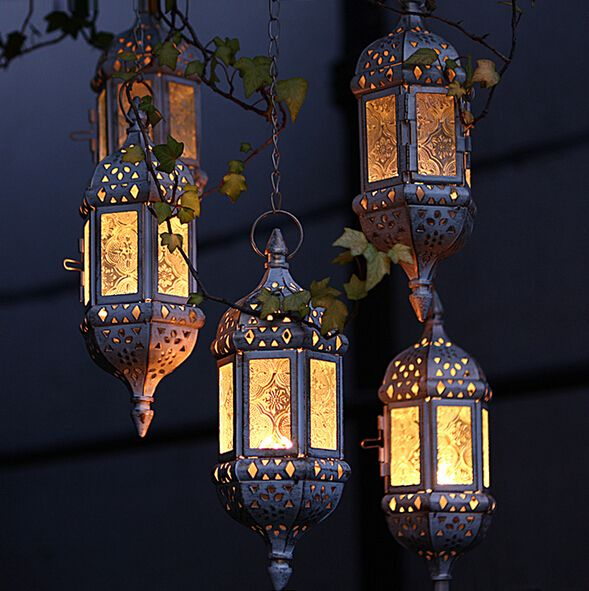 2016 Vintage Metal Hollow Candle Holder Articles White Moroccan European Hanging Lanterns