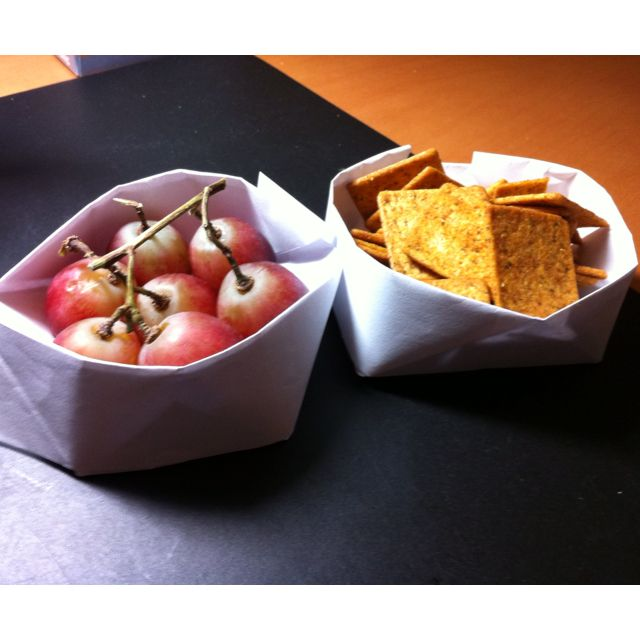 Fold origami bowls and use them to portion out your snacks at your desk job to prevent over-snacking.