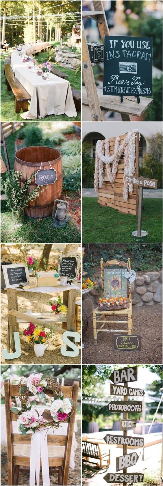 35 Rustic Backyard Wedding Decoration Ideas is part of Backyard wedding decorations - Planning a backyard soiree  Let's see how to decorate it! We've already told you how to organize a backyard wedding reception, now have a look what to add  Use the trees around for decor hang photos, lights and signs