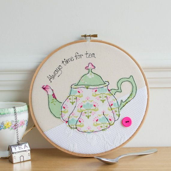 Teapot art - Embroidery in the hoop art - Tea time art - kitchen decor - Tea lover gift - Mothers day gift - Teapot textile art - Teapot art