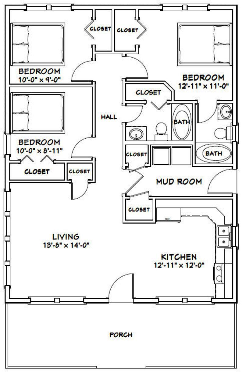 28x36 House 3 Bedroom 2 Bath 1008 Sq Ft Pdf Floor Etsy Small House Floor Plans Bedroom Floor Plans House Plans