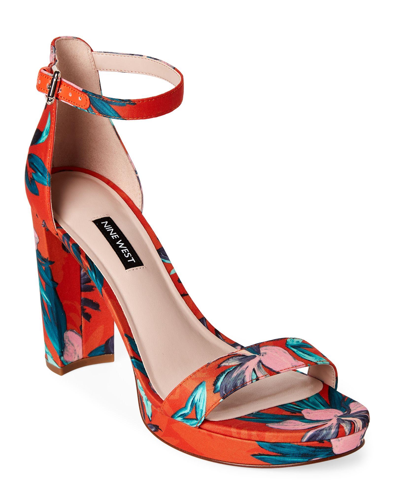 d1cd796ff57907 Nine West Orange Dempsey Floral Satin Block Heel Sandals