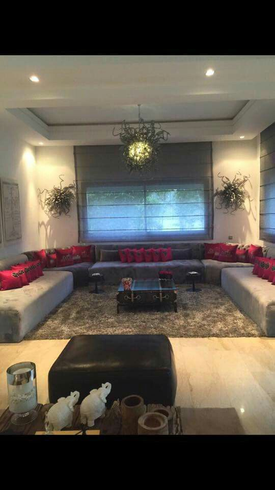 salon marocain moderne gris – rose fushia | Salon marocain ...