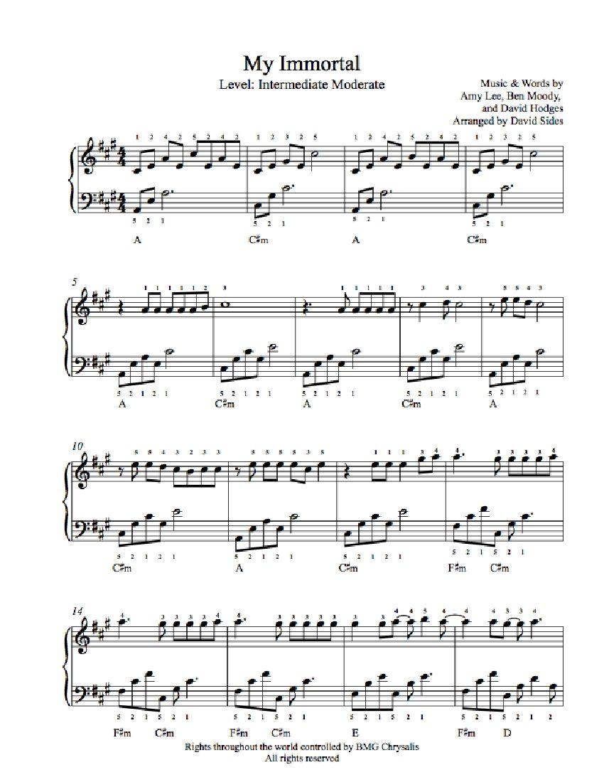 My Immortal By Evanescence Piano Sheet Music Intermediate Level