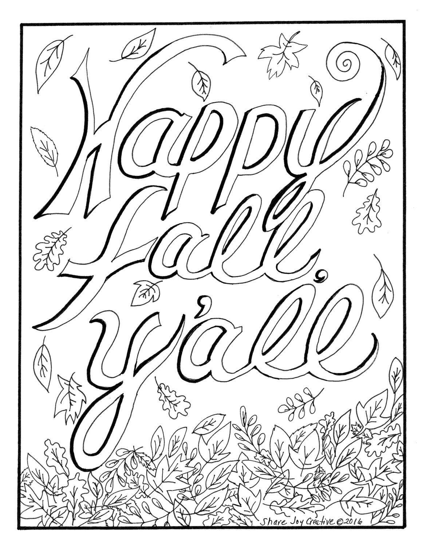Happy Fall Y All By Sharejoycreative On Etsy Fall Coloring Pages Happy Fall Y All Happy Fall