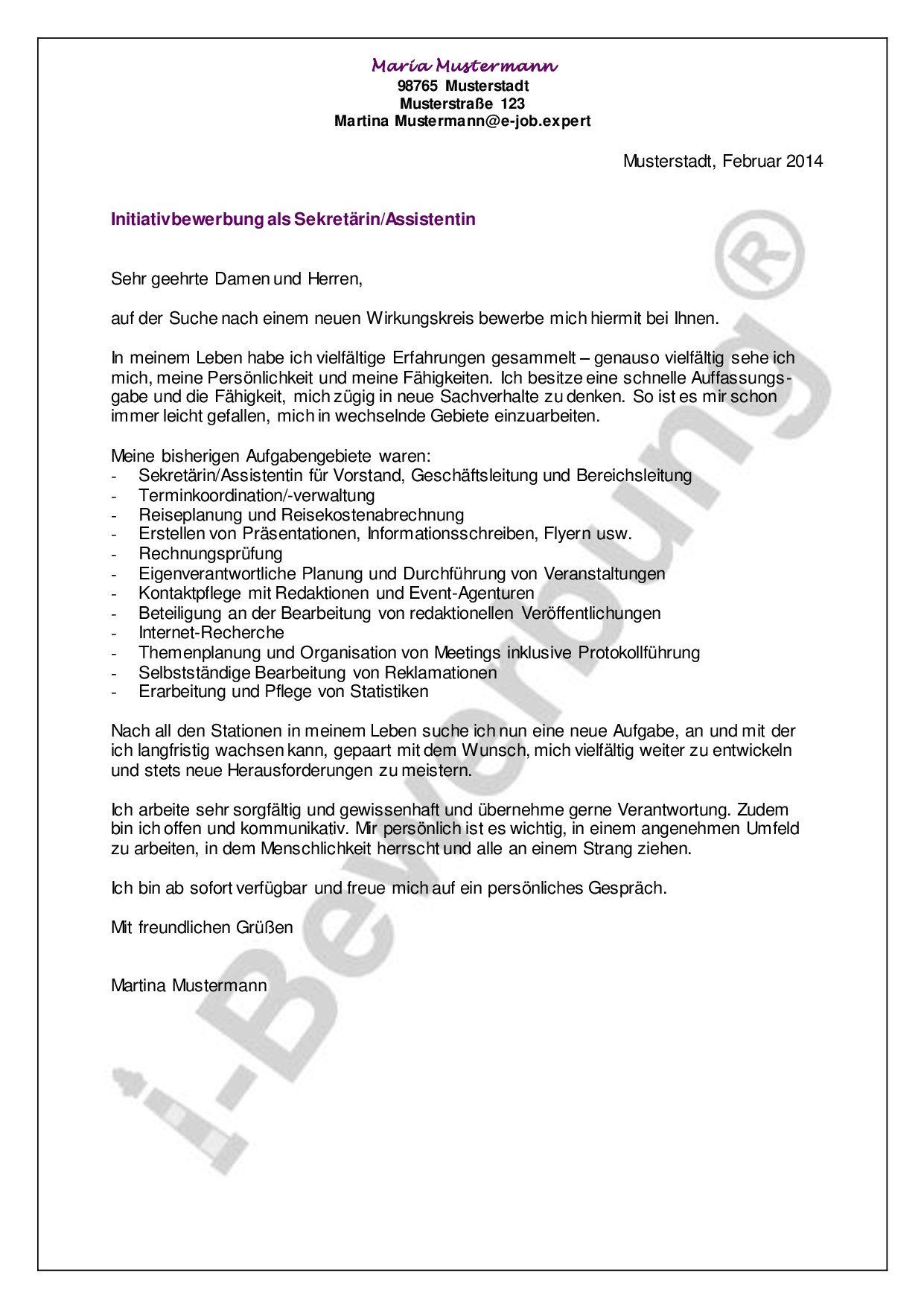 Anschreiben Bewerbung Sekretarin Muster Zum Download 3