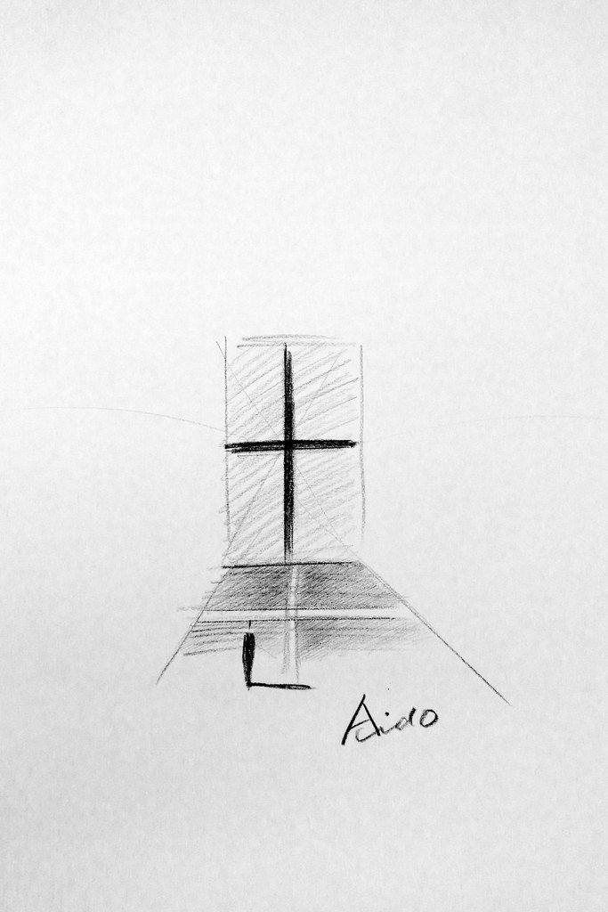 Interior Design Hand Sketches: Tadao Ando / Church Of Light #Ando #Sketch
