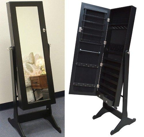 Black Mirrored Jewelry Cabinet Armoire Stand Idroidwar Com