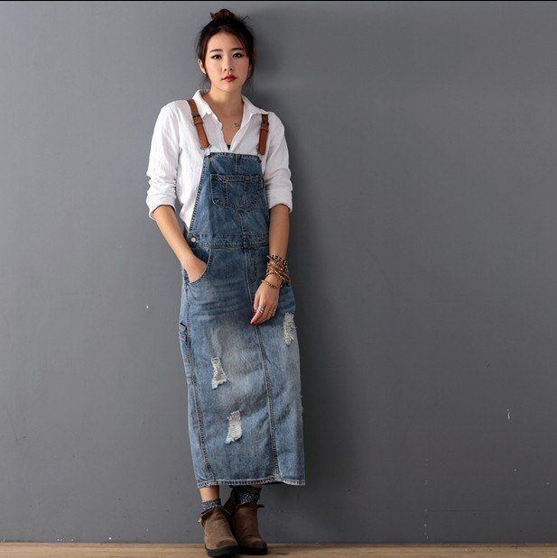 103b99d9f3aae 2019 New Fashion Loose Denim Dresses With Holes Jeans Suspenders One ...