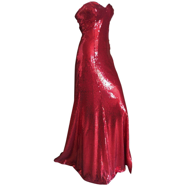 Yves Saint Laurent 70 S Rive Gauche Amazing Red Sequin Strapless Evening Dress Strapless Evening Dress Red Evening Dress Evening Dresses Vintage [ 1500 x 1500 Pixel ]