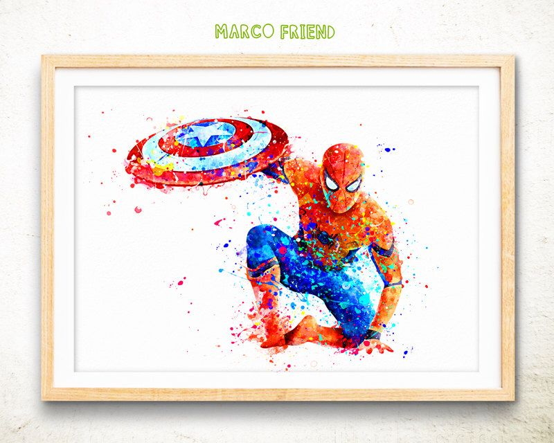 Spiderman Poster spiderman print Spiderman watercolor art spider man watercolor painting home decor wall art Avengers superhero gift -362 #superherogifts