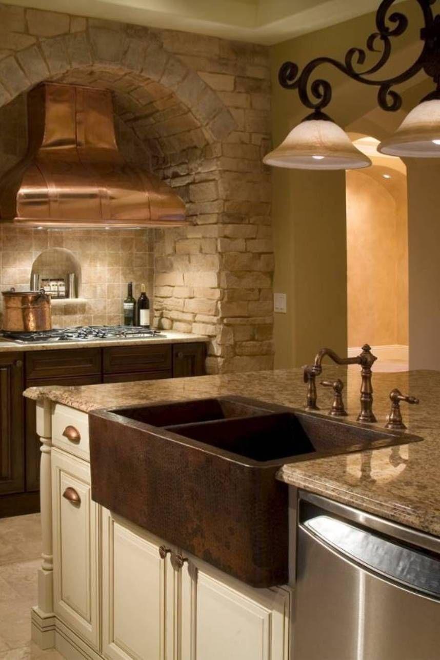 Kitchen , Fine Looking Copper Kitchen Sink Double Bowl