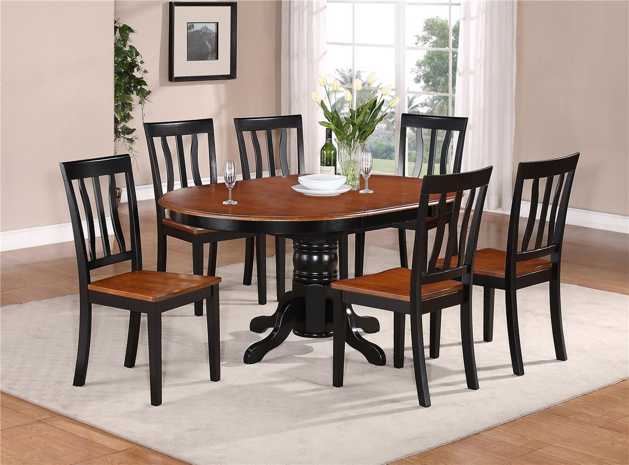 7 PC OVAL DINETTE KITCHEN DINING SET TABLE W/ 6 WOOD SEAT CHAIRS IN BLACK  CHERRY