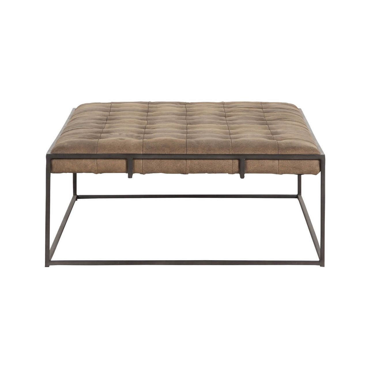 Distressed Leather Ottoman Coffee Table.Oxford Tufted Distressed Umber Leather Ottoman Coffee Table Stools