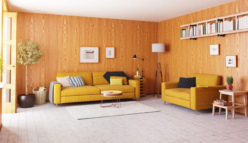 Wohnzimmer Gelb Wandgestaltung Holz Retro Design Einrichtung Sofa