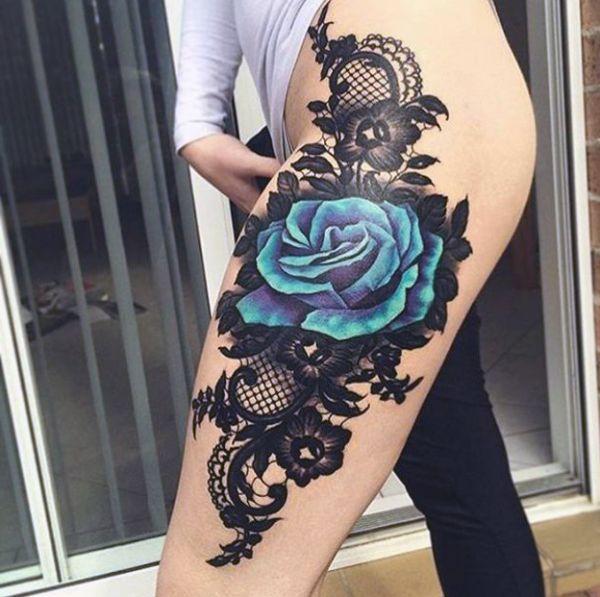 Tatuaze Damskie Niebieska Roza Na Udzie Tattoo Styles Lower Belly Tattoos Belly Tattoos