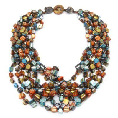 20 Inch Purple Orange Blue Multi-Color Genuine Freshwater Pearls Twist Necklace