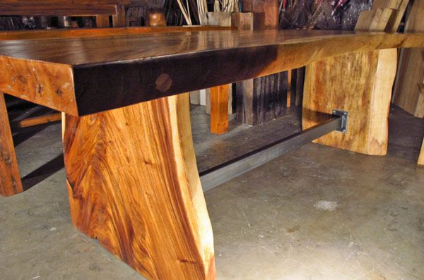 Elegant Large, 8u0027 Long Natural Edge Monkeypod Wood Dining Table U0026 Benches W/ Steel
