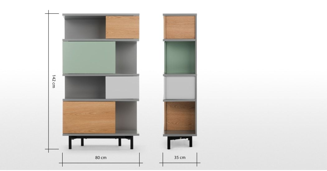 Fowler hoge boekenkast, meerkleurig eiken in 2018 | MADE.com ...