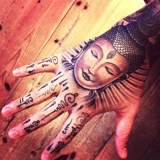 Pin By Sparkle Makeupby Manda On Tattoos Body Mods Buddha Tattoo Design Hand Tattoos For Girls Hand And Finger Tattoos