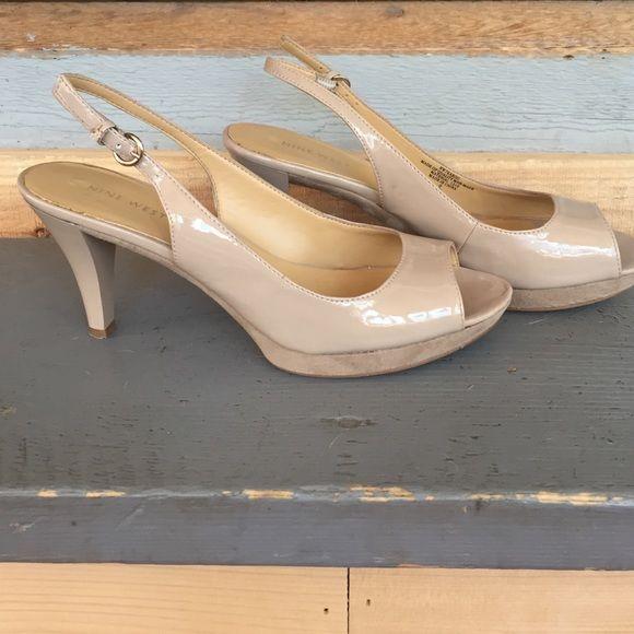 Nude sling backs Patent leather Nine West sling backs, gently used condition. 3 inch heel. Nine West Shoes Heels