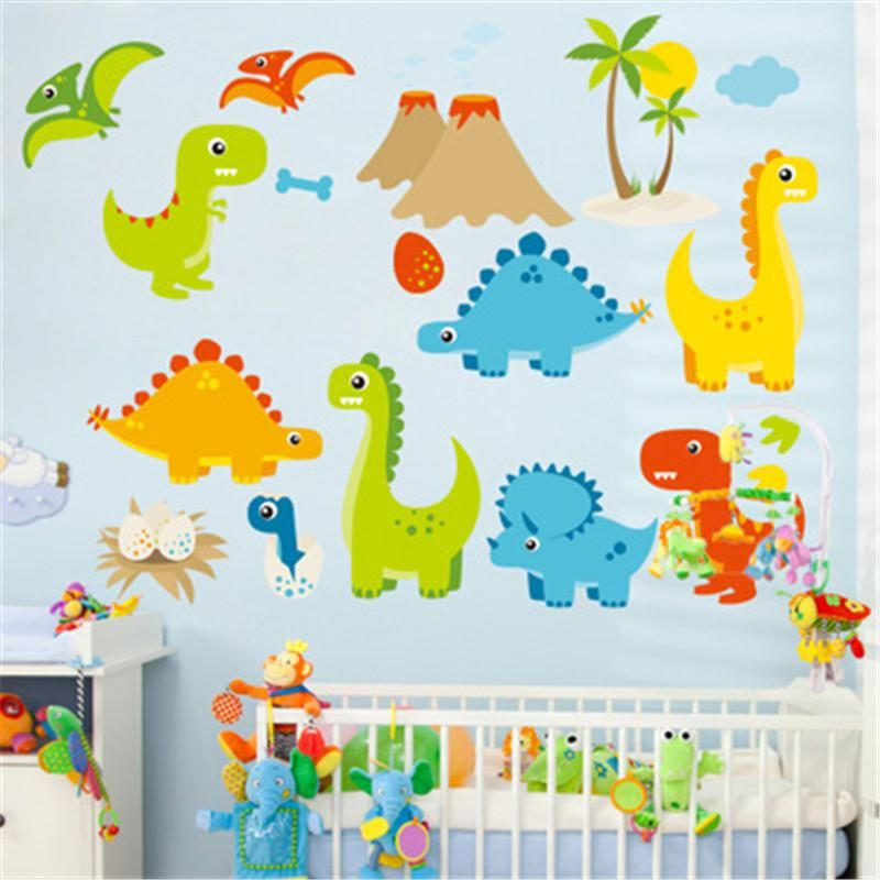 Cartoon Dinosaur Wall Stickers For Kids Room Home Decor Nursery