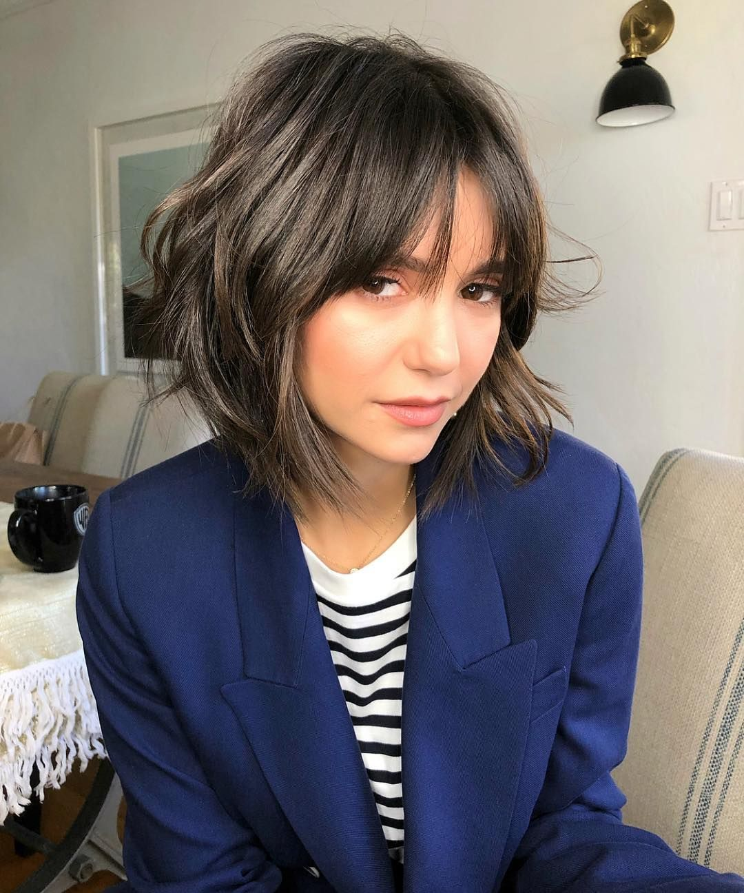 nina dobrev's shag is the perfect cut to grow out a bob