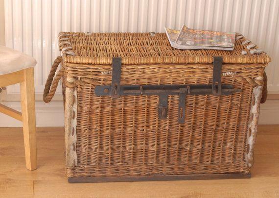 Antique Large Lidded Wicker Laundry Basket Storage