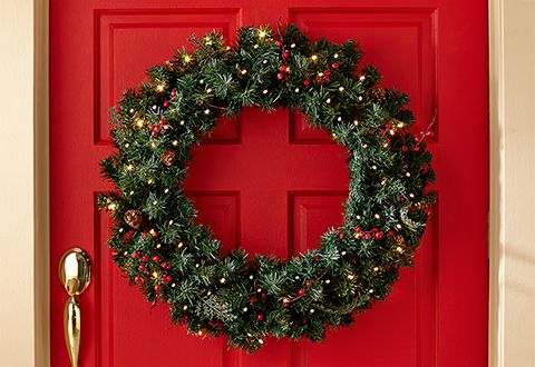 Christmas Decor Cordless Pre Lit Indoor Outdoor Wreath Sharper Image