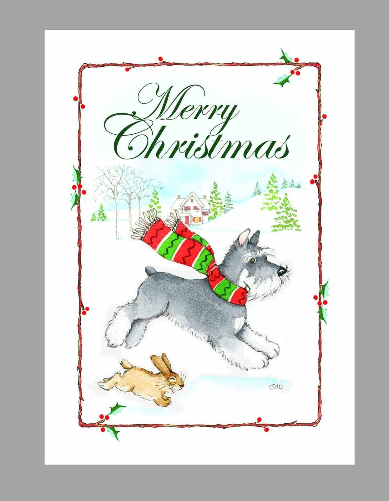Schnauzer Dog Christmas Cards, Box Of 16 Cards & 16 Envelopes