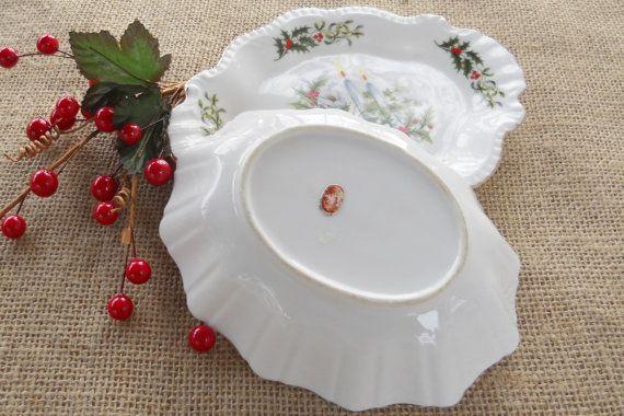 Vintage Christmas Candy Dish and Tray Set by RosebudsOriginals