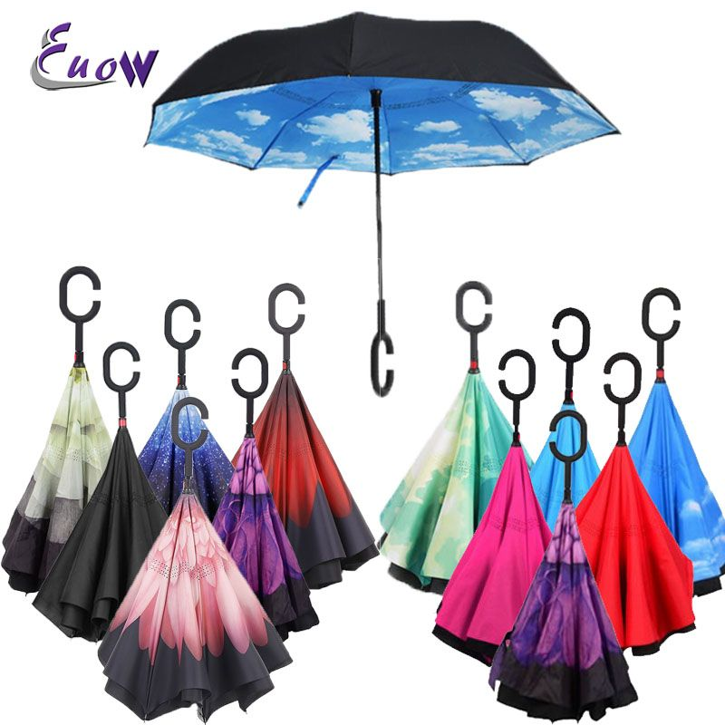 27 Colors C-Hook Windproof Reverse Fold umbrella For Car Long Shank Inverted Double Layer Rain Protection Umbrella Drop Shipping