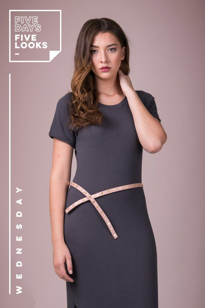 How to Wear the Cala Skinny Belt   5 days, 5 looks 1 belt   Women's belt   Fashion tips   Genuine leather   Cocktail dress   Style   One size   ADA Collection