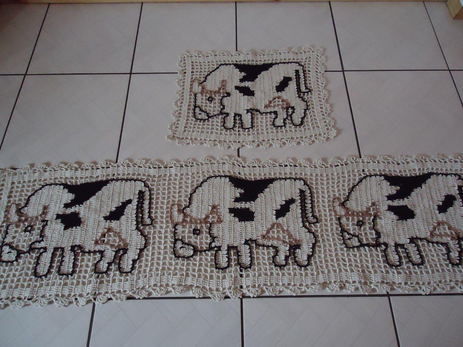 Tapetes De Croche Com Animais Para Cozinha Vaquinha Pinterest  ~ Como Fazer Conjunto De Cozinha