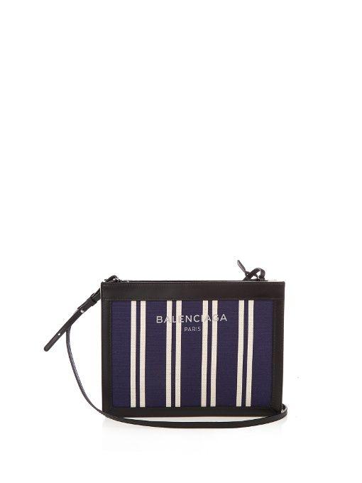 a517df87b1 BALENCIAGA Navy Cabas mini cotton-canvas cross-body bag.  balenciaga  bags   canvas  leather  lining  accessories  shoulder bags  wallet  cotton
