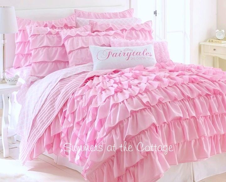 Dreamy Pink Ruffles Shabby Cottage Chic Twin Or Full Queen Quilt