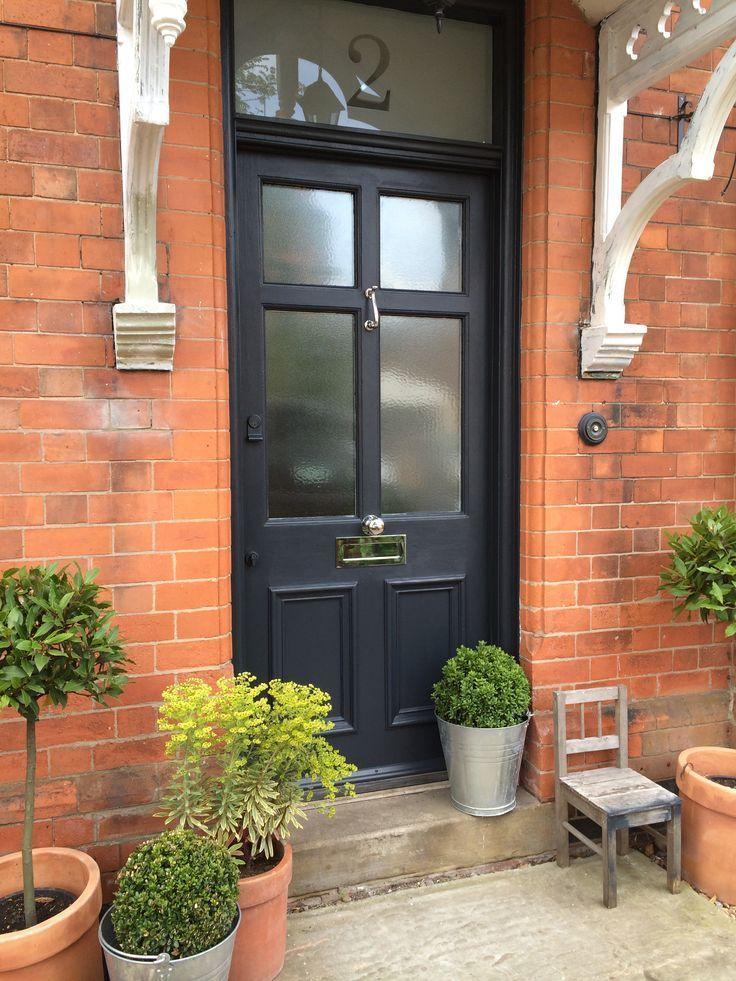 Front door painted in Farrow and Ball Railings | Front doors ...