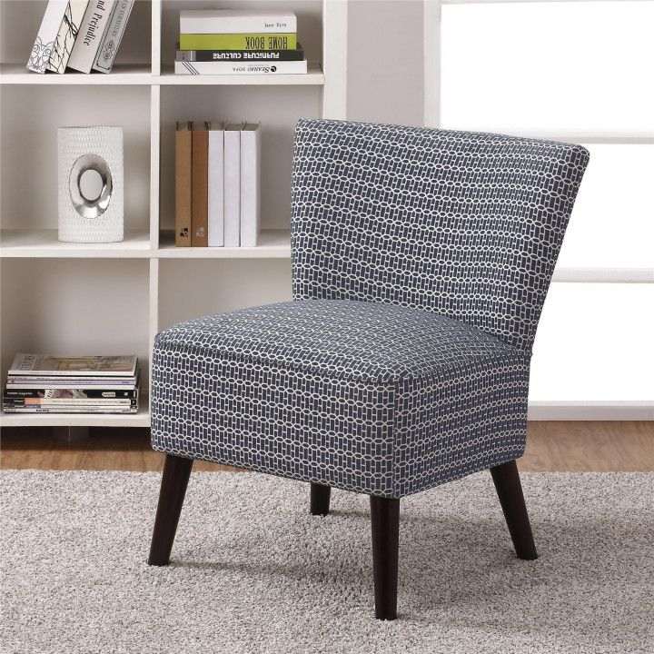 Blue armless accent chair cool storage furniture with